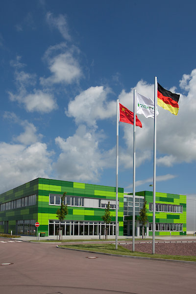 Factory in Halle (Saale), frontal view